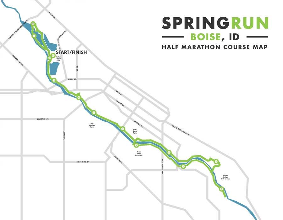 Spring Run Half Marathon Race Map